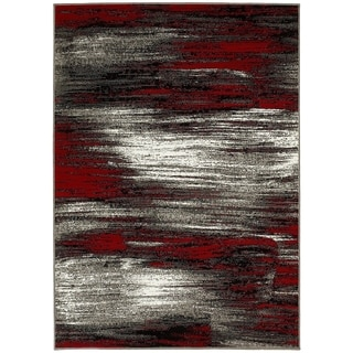 Lyke Home Lava Red/Grey Olefin Machine-made Area Rug (5' x 7')