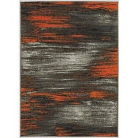 LYKE Home Machine-made Orange Olefin Latex-free Area Rug (5' x 7')