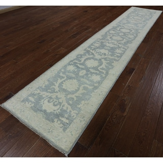 Hand-Knotted Oriental Peshawar Blue Wool Rug (2'7 x 12'10)
