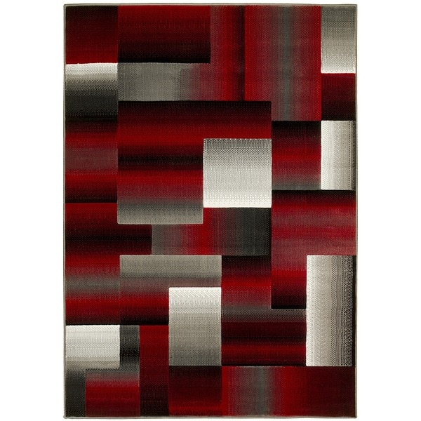 Lyke Home Red Grey Olefin Machine Made Area Rug 5 X27