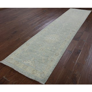 Hand-Knotted Oriental Peshawar Blue Wool Rug (2'7 x 10'10)