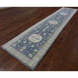 Hand-Knotted Oriental Peshawar Blue Wool Rug (3'0 x 15'1)