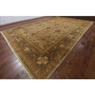 Hand-Knotted Oriental Peshawar Brown Wool Rug (12'0 x 18'8)