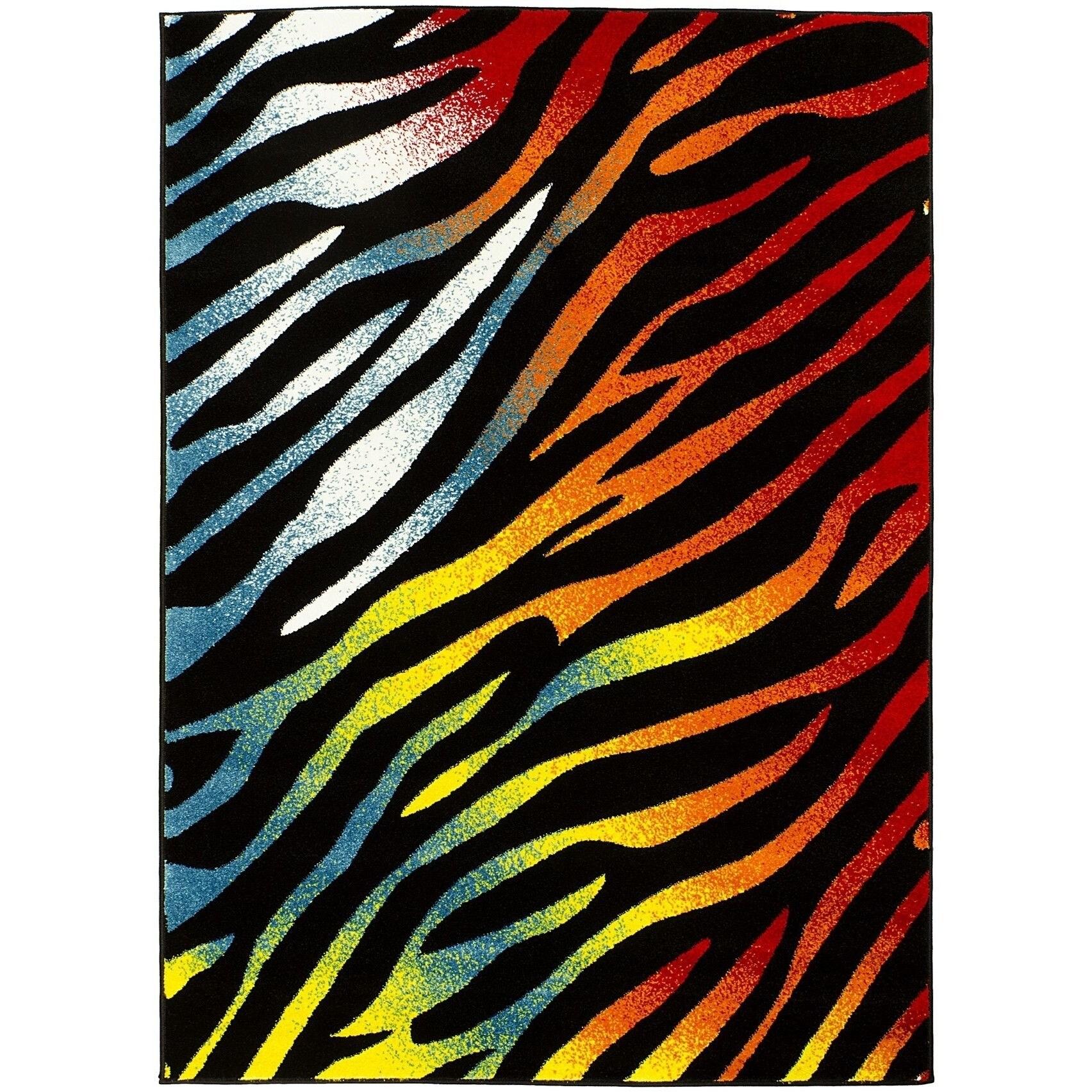 Rainbow Lyke Home Multi-zebra Yarn Machine-made Area Rug ...