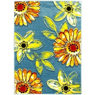LYKE Home Sunflower Yarn Machine-made Area Rug (5' x 7')