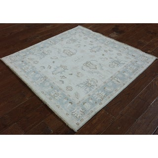 Hand-Knotted Oriental Peshawar Ivory Wool Rug (4'3 x 4'3)