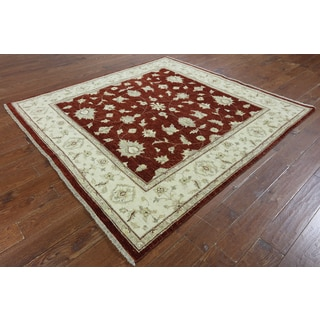 Hand-Knotted Oriental Peshawar Red Wool Rug (6'7 x 6'9)