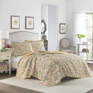 Laura Ashley Delia Apricot Cotton Reversible Quilt Set