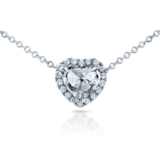 Annello by Kobelli 14k White Gold 5/8ct TDW Culet Up Heart Diamond Halo Necklace (F, I1)