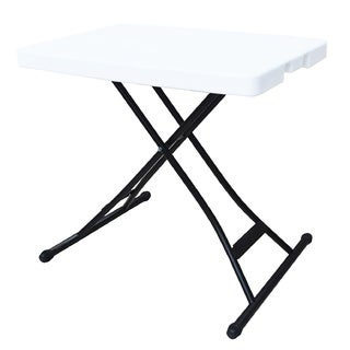 Ares White Polyethylene, Metal Adjustable Height Personal Folding Table