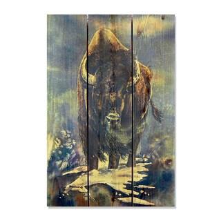 Gizaun Art Dave Barthelet 'American Buffalo' Full-color Cedar 16-inch x 24-inch Indoor/Outdoor Wall Art