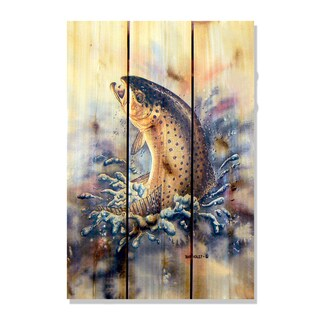 Dean Crouser 'Fish On' Indoor/Outdoor Full Color Cedar Wall Art