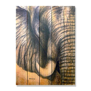 Dave Barthelet African Elephant 28-inch x 36-inch Indoor/Outdoor Full Color Cedar Wall Art
