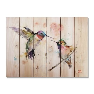 Gizaun Art Dean Crouser 'Love Bird' Full-color Cedar 33-inch x 24-inch Indoor/Outdoor Wall Art