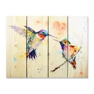 Gizaun Art Dean Crouser 'Love Bird' Full-color Cedar 22-inch x 16-inch Indoor/Outdoor Wall Art