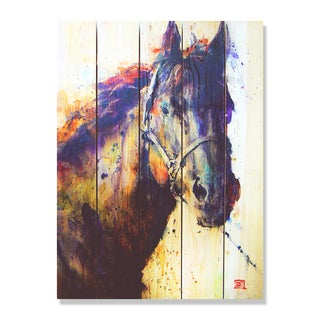 Black Stallion' Full Color Cedar 28-inch x 36-inch Indoor/Outdoor Wall Art