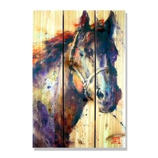 Black Stallion' Full Color Cedar 16-inch x 24-inch Indoor/Outdoor Wall Art