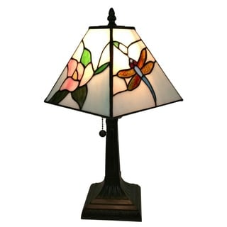 Amora Lighting AM220TL08 Dragonfly Tiffany-style Mission 8-inch Table Lamp