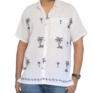 La Leela White Men's Smooth Rayon Embroidered Palm Tree Camp Swim Button-down Casual Short-sleeve Shirt