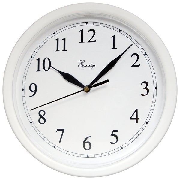 "Equity 25201 10"" White Plastic Wall Clock"