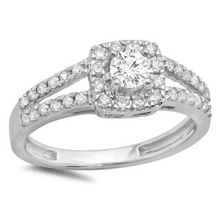 Elora 14k Gold 3/4ct TDW Round Diamond Split Shank Engagement Ring (I-J, I1-I2)