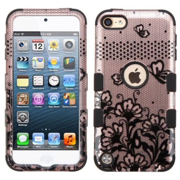 Insten Rose Gold/ Black Lace Flowers Tuff Hard PC/ Silicone Dual Layer Hybrid Case Cover For Apple iPod Touch 5th Gen/ 6th Gen