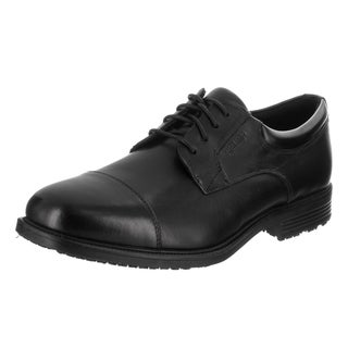 Men's Rockport Essential Details Waterproof Cap Toe Black Leather