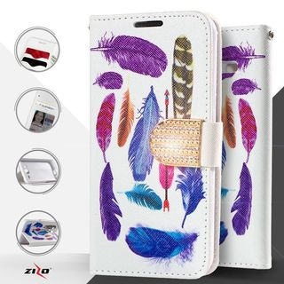 Insten Blue/ White Feathers Leather Case Cover with Stand/ Diamond For LG G Stylo 2