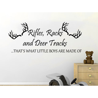 Quote Rifles Racks and Deer Tracks Wall Art Sticker Decal