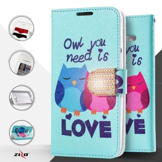 Insten Blue Owl Lovers Leather Case Cover with Stand/ Diamond For LG G Stylo 2