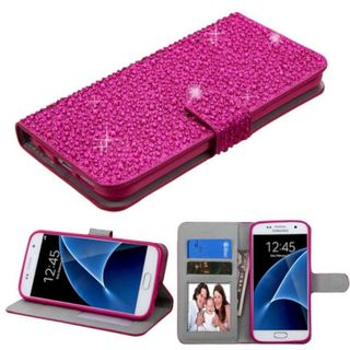 Insten Leather Rhinestone Bling Case Cover with Stand/ Wallet Flap Pouch/ Photo Display For Samsung Galaxy S7