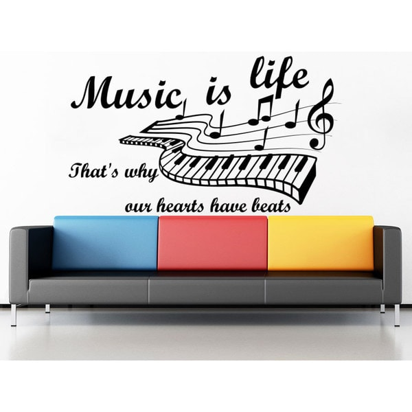 Quote Music is life That's why our hearts have beats Wall Art Sticker Decal