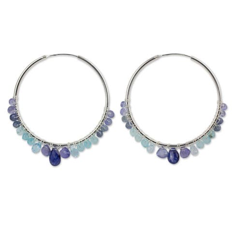 Handmade Sterling Silver 'Following Sea' Multi-gemstone Earrings (Thailand) - Silver/Blue Beads