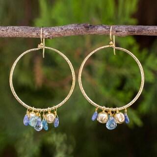 Handmade Gold Overlay 'Transcendent Blue' Multi-Gemstone Earrings (Thailand)