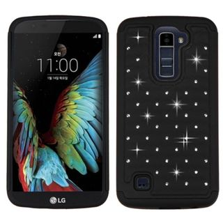 Insten Hard PC/ Silicone Dual Layer Hybrid Rubberized Matte Case Cover with Diamond For LG K10