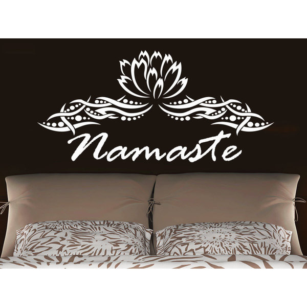 Namaste Lotus Flower Yoga Wall Art Sticker Decal White