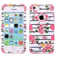 Insten Pink/ White Fresh Roses Tuff Hard PC/ Silicone Dual Layer Hybrid Rubberized Matte Case Cover For Apple iPhone 5C