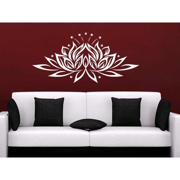 Namaste Lotus Flower Indian Ornament Moroccan Wall Art Sticker Decal White