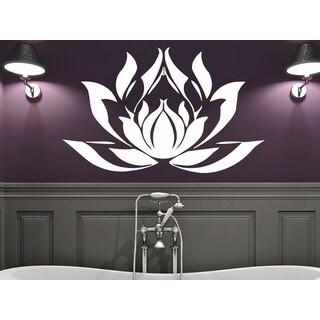 Namaste Words Lotus Flower Wall Art Sticker Decal White