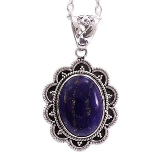 Sterling Silver 'Royal Audience' Lapis Lazuli Necklace (India)