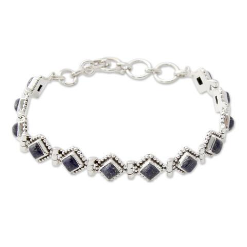 NOVICA Handmade Deep Blue Diamonds Sterling Silver Lapis Lazuli Bracelet (India)