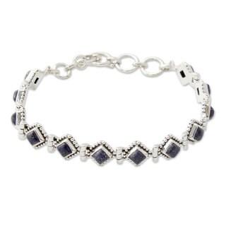 Handmade Sterling Silver 'Deep Blue Diamonds' Lapis Lazuli Bracelet (India)