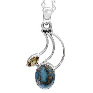Handmade Sterling Silver 'Modern Mystique' Citrine Turquoise Necklace (India)