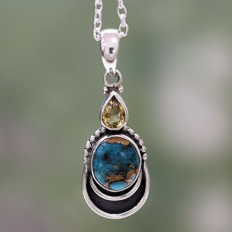 Handmade Sterling Silver 'Eternal Allure' Citrine Turquoise Necklace (India)