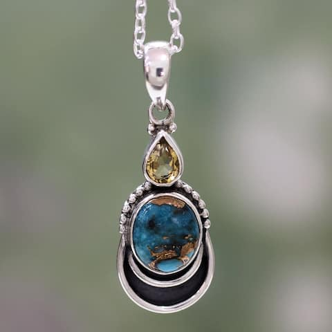 Handmade Sterling Silver Eternal Allure Citrine Turquoise Necklace (India)