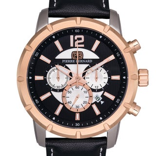 Pierre Bernard Men's Steeplechase Chronograph Watch, Multi-Level Textured Dial, Genuine Leather, Superluminova