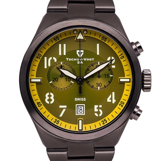Tschuy-Vogt A41 Centurion Men's Swiss Vintage Style Chronograph C3 Superluminova Military Stencil Numerals Sapphire Crystal