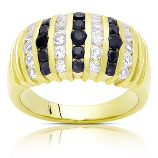Dolce Giavonna Gold Over Sterling Silver Sapphire and White Topaz Cluster Ring