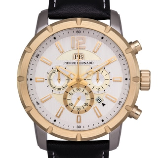 Pierre Bernard Men's Steeplechase Chronograph Watch Multi-Level Textured Dial Genuine Leather Superluminova