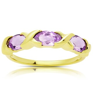Dolce Giavonna Gold Over Sterling Silver Amethyst Three Stone Ring